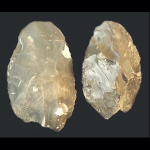 Left - replica: Right - Cast of the 750,000 year old East coast handaxe
