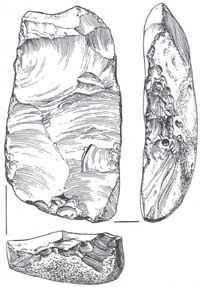A flint core, shaped primarily for the production of useful flakes.